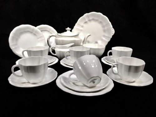 Antique Royal Crown Derby - Surrey White Utility Ware Tea Set for 6 People c1945